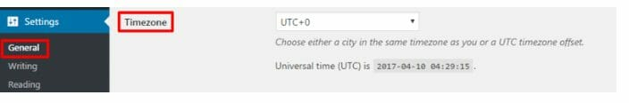 Setting up time zone in WordPress
