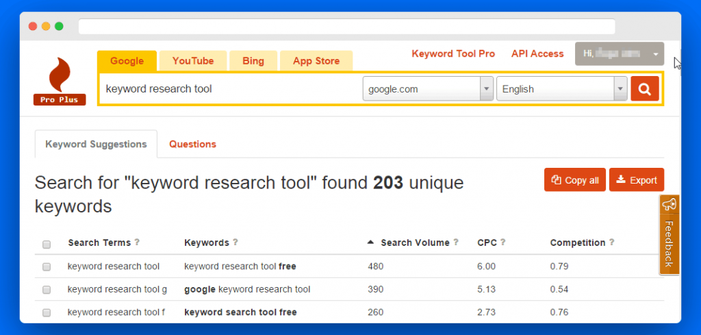 Chrome Extension for keyword research tools.