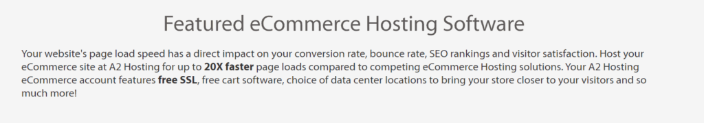 A2 hosting ecommerce features