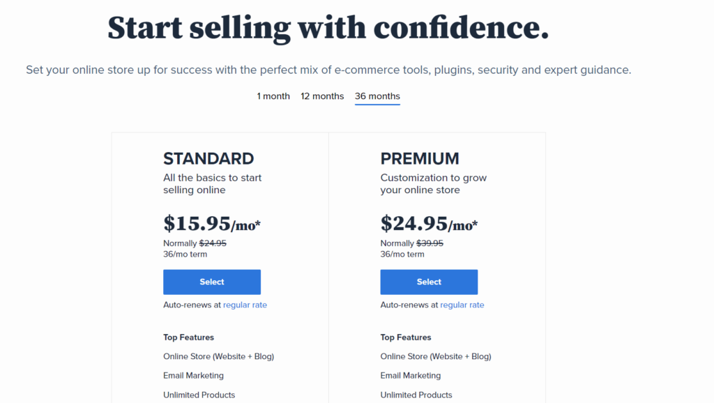 Bluehost ecommerce pricing plans