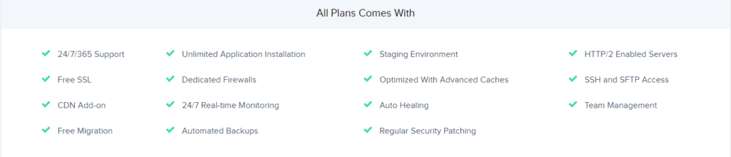 Cloudways all plans features