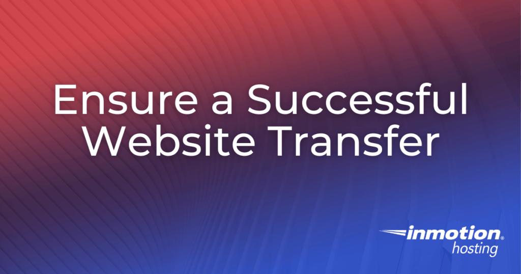 In motion hosting website transfer