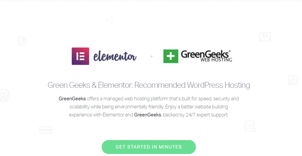 elementor recommends host greengeeks